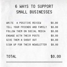 We know times are tough in general and especially with money. People have been asking how they can support us without having to actually buy our products and it is totally possible! This visual couldn't say it any better. Word of mouth can do wonders.  Original post from @rejoyce_boutique on Instagram.