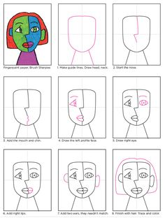 art for kids cubism - kunst für kinder kubismus Portraits Cubistes, Portraits For Kids, Cubist Portraits, L'art Du Portrait, Painting Portraits, Paintings, Kunst Picasso, Art Picasso, Picasso Kids