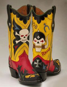 Rocketbuster, the finest Handmade Custom Cowboy Boots. Family owned, handmade in TEXAS,shipped worldwide.Spaceage vintage style for folks who just ain't boring! Custom Cowboy Boots, Custom Boots, Western Boots, Shoe Horn, Skull And Bones, Skulls, Vintage Fashion, Website, Ephemera