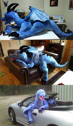 Giant blue dragon plush with joints by Bladespark on DeviantArt Pokemon Lapras, Pokemon Plush, Diy Dragon Costume, Giant Plush, Dragon Puppet, Dragon Pattern, Dragon Crafts, Cute Dragons, Plush Pattern