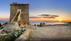 Waiting for the Sunset by Fabio Lamanna on 500px #blue sky #italy #landscape #mare #nardo #natgeo #nicepic #nikon #puglia #salento #sea #seascape #summer #sun #sunset #tower #tramonto #travel #wide angle