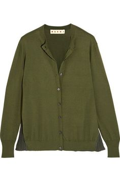 Marni - Plissé-paneled Cotton-blend Cardigan - Green - IT40