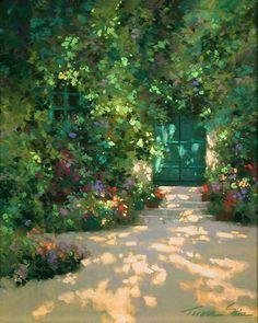 """Gardener's Door by Teresa Saia Pastel ~ 20"""" x 16"""""""