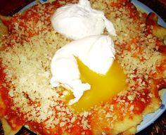 Pane frattau - Sardinia recipe made with carasau bread, sheep broth, pecorino (sheep) cheese and eggs. Delicious!
