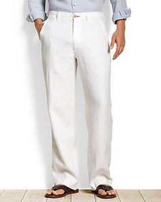 """Tommy Bahama - Beachy Breezer Standard Fit Pants $110.00 USD and in """"white"""" and """"natural linen"""".  Good for Groomsmen and Groom for beach destination wedding."""