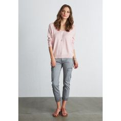 Linen V Neck Jumper - I liekd the slgiht slouchy nature of this jumper and its in a really pretty colour for you.wear with grey scarf and whites. Laid Back Style, My Style, Grey Scarf, Lounge Wear, Jumper, Capri Pants, Fashion Accessories, Women Wear