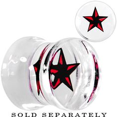 00 Gauge Black Red Nautical Star Acrylic Saddle Plug | Body Candy Body Jewelry #bodycandy