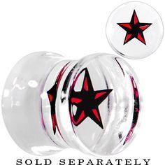 00 Gauge Black Red Nautical Star Acrylic Saddle Plug | Body Candy Body Jewelry #bodycandy