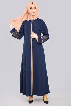 Dantel Detay İncili Abaya PD400 Laci&Latte Modest Fashion Hijab, Abaya Fashion, Modest Outfits, Simple Abaya Designs, Girls Fashion Clothes, Fashion Outfits, Moslem Fashion, Modele Hijab, Hijab Trends