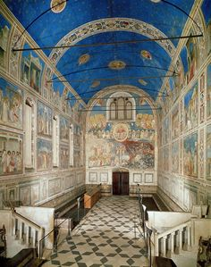 Interior, Arena (Scovegni) Chapel With frescoes by Giotto, Padua, Italy -Enrico Scrovegni -registers -grisaille Italian Renaissance Art, Renaissance Paintings, Italy Tourism, Travel Chic, Late Middle Ages, Grisaille, European Paintings, Italian Painters, Chapelle