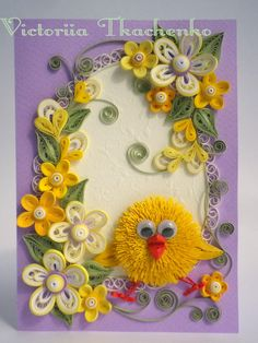 Cute quilling card with chicken.