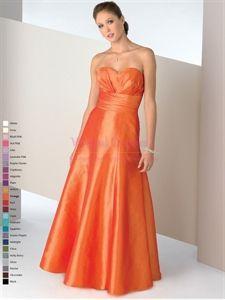 Classic Orange Taffeta Pleated Sweetheart A-Line Bonny 7101 Prom Dress
