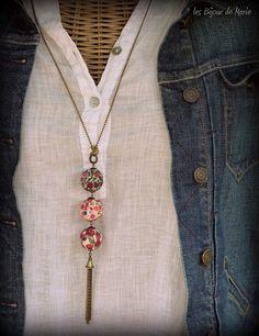 Long sautoir rose et violet style bohème par LesBijouxDeMarie