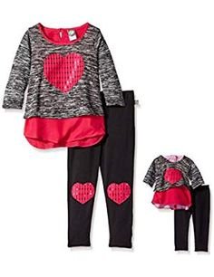 online shopping for Dollie & Me Girls' Heart Applique Tunic Top Leggings from top store. See new offer for Dollie & Me Girls' Heart Applique Tunic Top Leggings Knit Leggings, Tops For Leggings, Dresses With Leggings, My Little Girl, My Girl, Baby Doll Clothes, Babies Clothes, Girls Sweaters, Outfit Sets