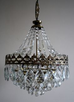 Antique * Vintage  French Basket Style Brass &  Crystals  Chandelier Lamp 1950's