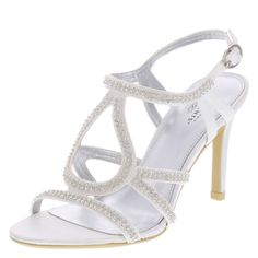 """Make the occasion unforgettable in this gorgeous sandal. It features a satin upper with dual rows of rhinestones, an adjustable ankle strap, padded insole, 3 1/2"""" heel, and sturdy outsole. Manmade materials."""