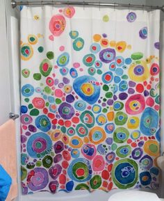 Colorful Shower Curtain Set Inner Circle Bubbles Abstract