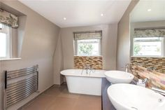 A beautiful bathroom with non-tiled walls