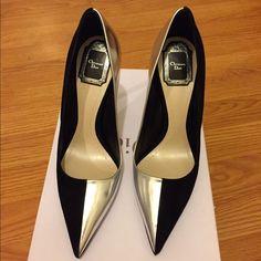 Dior profile silver and suede black pump 38 Gorgeous Christian Dior pointy toe pump. 4.25 inches, half silver and half suede black. Runs small. Will fit 37.5-38. Includes original box. No dust bag. Dior Shoes