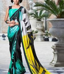 Buy Black printed Georgette saree with blouse manipuri-silk-saree online