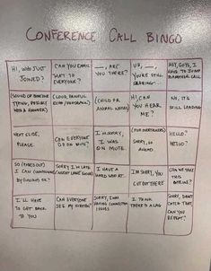 Conference Call Bingo (- Can we make this old vid go viral? Conference Call Bingo, Work Fails, Animal Noses, Awkward Family Photos, Health Promotion, Work Humor, Daily Memes, Looking Back, Funny Photos
