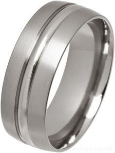 Ti2 Low Profile 8mm Centre Inlay Titanium Ring