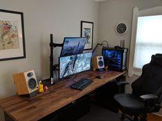 Karlby Countertop, Countertop Desk, Countertops, Computer Desk Setup, Gaming Setup, Ikea Office, Home Office, Motorized Desk, Pipe Desk