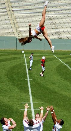 #cheer #cheerleading #basket #toss #college #game #football #stunt #competition #coed