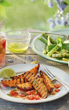Grilled Sweet potato wedges with salsa
