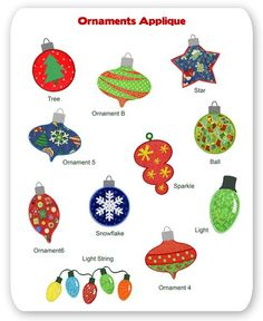 Christmas Ornaments Embroidery Applique Designs Holiday Winter Tree Lights