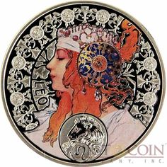 Niue Island LEO $1 Painter Alphonse Mucha Zodiac series Colored Silver Coin 2011…