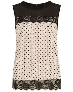 Blush spot lace contrast shell top, Dorothy Perkins