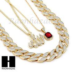 "(2) Allah w/ 4mm 24"" Cuban chain & Ruby w/ 2mm 24"" Rope Chain 2 Nekclaces (2PCS). 1)Allah w/ 4mm 24"" Cuban Chain Necklace (1PC). Allah w/ 4mm 24"" Cuban chain &. 15mm 30"" Cuban Link Chain Necklace. Ruby w/ 2mm 24"" Rope Chain &. | eBay!"