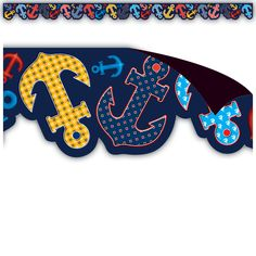 """Anchors Magnetic Borders - Decorate your whiteboard in a snap with durable magnetic decor! Add flair to other metal surface such as doors, desks, shelving, and bins. Cuts easily with scissors to make your own labels or games pieces. Includes 12 pieces per pack. Each magnetic border is 24"""" x 1.5"""". 24 total feet."""