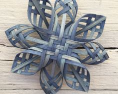 Chubby Twill Cherokee Woven Star Ornament Tree Topper in blues