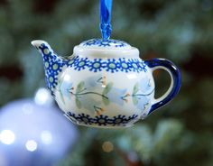 Teapot Ornament (Lily of the Valley) from The Polish Pottery Outlet