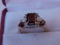 Antique Unique Art Deco 10k YG   Ring: Genuine Garnets , Diamonds   & Opals ,1950s