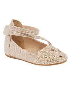 Gold Ankle-Strap Fia Ballet Flat