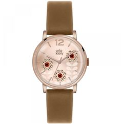 Signature Orla Kiely style, brown strap with red crystal petal detail and rose dial. Crafted with precision for a sophisticated and elegant style. Orla Kiely Watch, Jewels, Lady, Brown, Polyvore, Accessories, Watch Case, Beautiful, Jewelry Watches