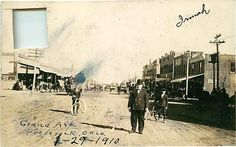 Real Photo Postcard Grand Avenue Street Scene, Frederick, Oklahoma