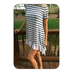 black/white stripe tunic/dress! Last ONE! The perfect piece! Pretty chiffon Ruffles at hemline! Follow me on Instagram @kfab333 for more items😊 Tops Tunics