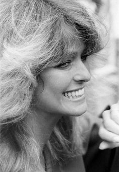 US actress Farrah Fawcett Majors pictured at a photo reception at the Dorcester Hotel in London April 1978.