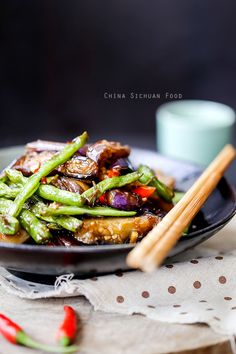 Chinese style eggplants with green beans- simple veggies with great flavor.