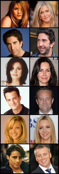 Friends main cast (then and now) Lisa Kudrow (July 30, 1963), Courtney Cox (June15, 1964), Jennifer Aniston                              Matt LeBlanc                        Mathew Perry                           David Schwimmer