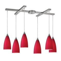 Vesta 6 Light Pendant In Satin Nickel And Cardinal Red Glass by Elk Lighting Group