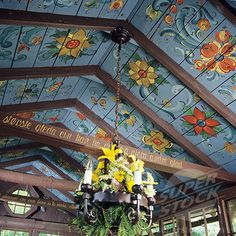 Norwegian style rosemaling ceiling. Oh PLEASE someone come do this to my walls…