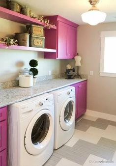 Love the pink cabinets! Fabulous Laundry room design ideas from Pink Laundry Rooms, Laundry Room Colors, Laundry Room Shelves, Laundry Room Cabinets, Laundry Closet, Small Laundry, Laundry Room Design, Laundry Area, Laundry Drying