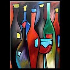 Art: Wine 112 2436 Original Abstract Art Open Bar by Artist Thomas C. Wine Wall Art, Wine Art, Bar Kunst, Scrapbooking Image, Wine And Canvas, Wine Painting, Bar Art, Funky Art, Artist Portfolio