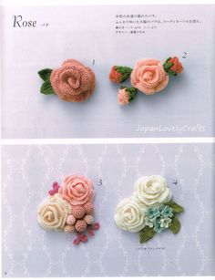 Crochet Flower Corsage Patterns Japanese by JapanLovelyCrafts