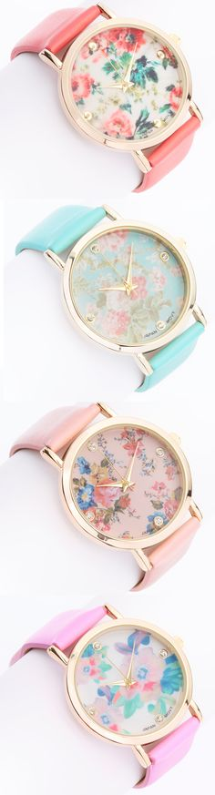 Pastel floral watches via Colette Le Mason § Jewelry Accessories, Fashion Accessories, White Gold Studs, Pastel Floral, Pastel Pink, Floral Prints, Mode Inspiration, Mode Style, Girly Things
